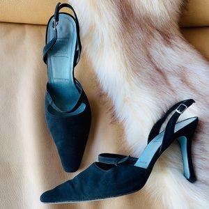 Vintage Cynthia Rowley slingback heels in black